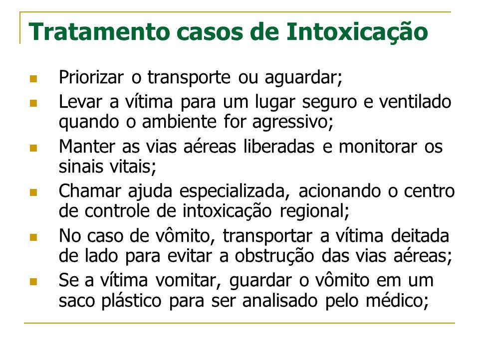 Tratamento casos de Intoxicação  Priorizar o transporte ou aguardar;  Levar a vítima para um lugar seguro e ventilado quando o ambiente for agressiv