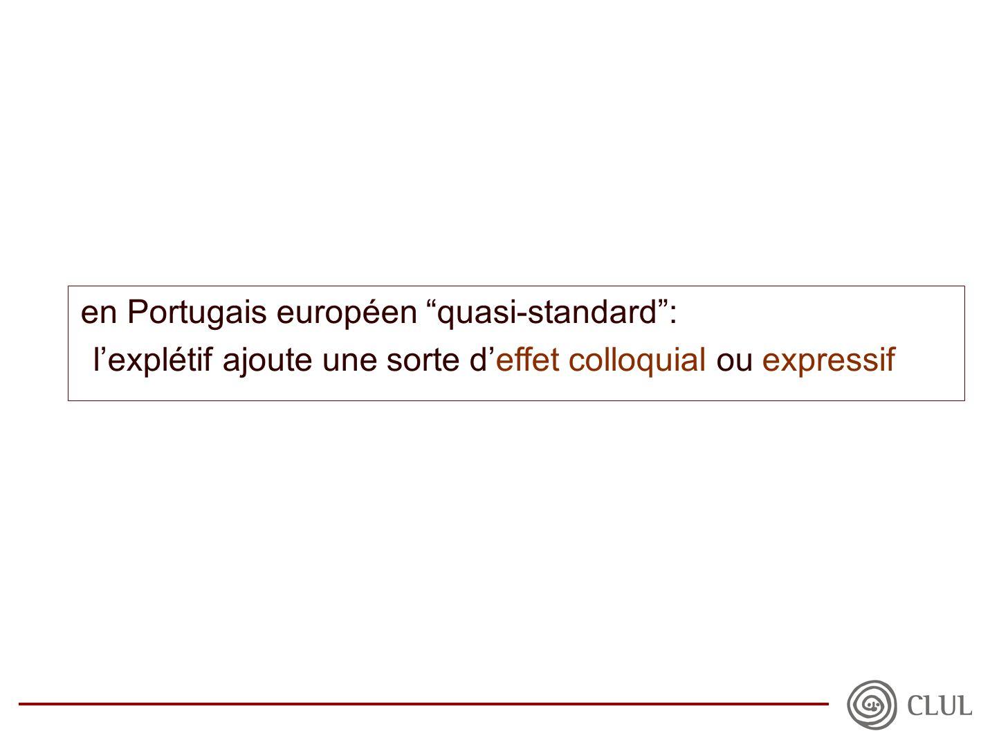en Portugais européen quasi-standard : l'explétif ajoute une sorte d'effet colloquial ou expressif