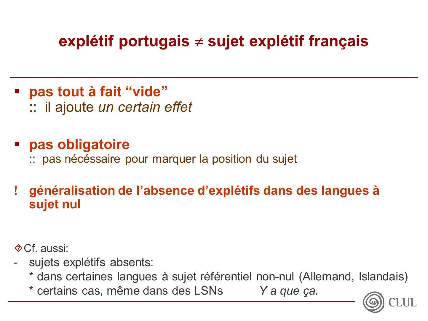 explétif portugais  sujet explétif français  pas tout à fait vide :: il ajoute un certain effet  pas obligatoire :: pas nécéssaire pour marquer la position du sujet !généralisation de l'absence d'explétifs dans des langues à sujet nul  Cf.