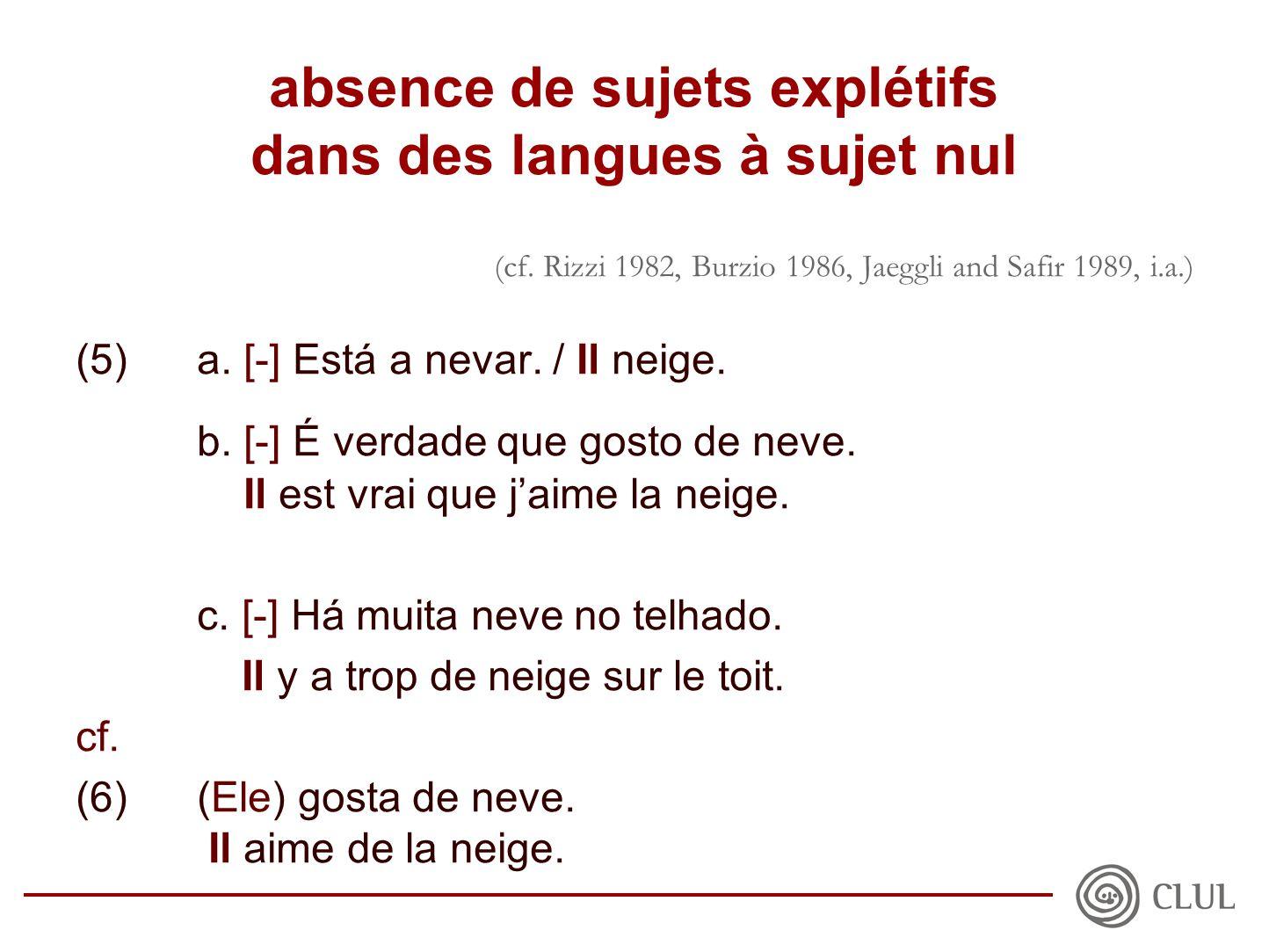 absence de sujets explétifs dans des langues à sujet nul (cf.
