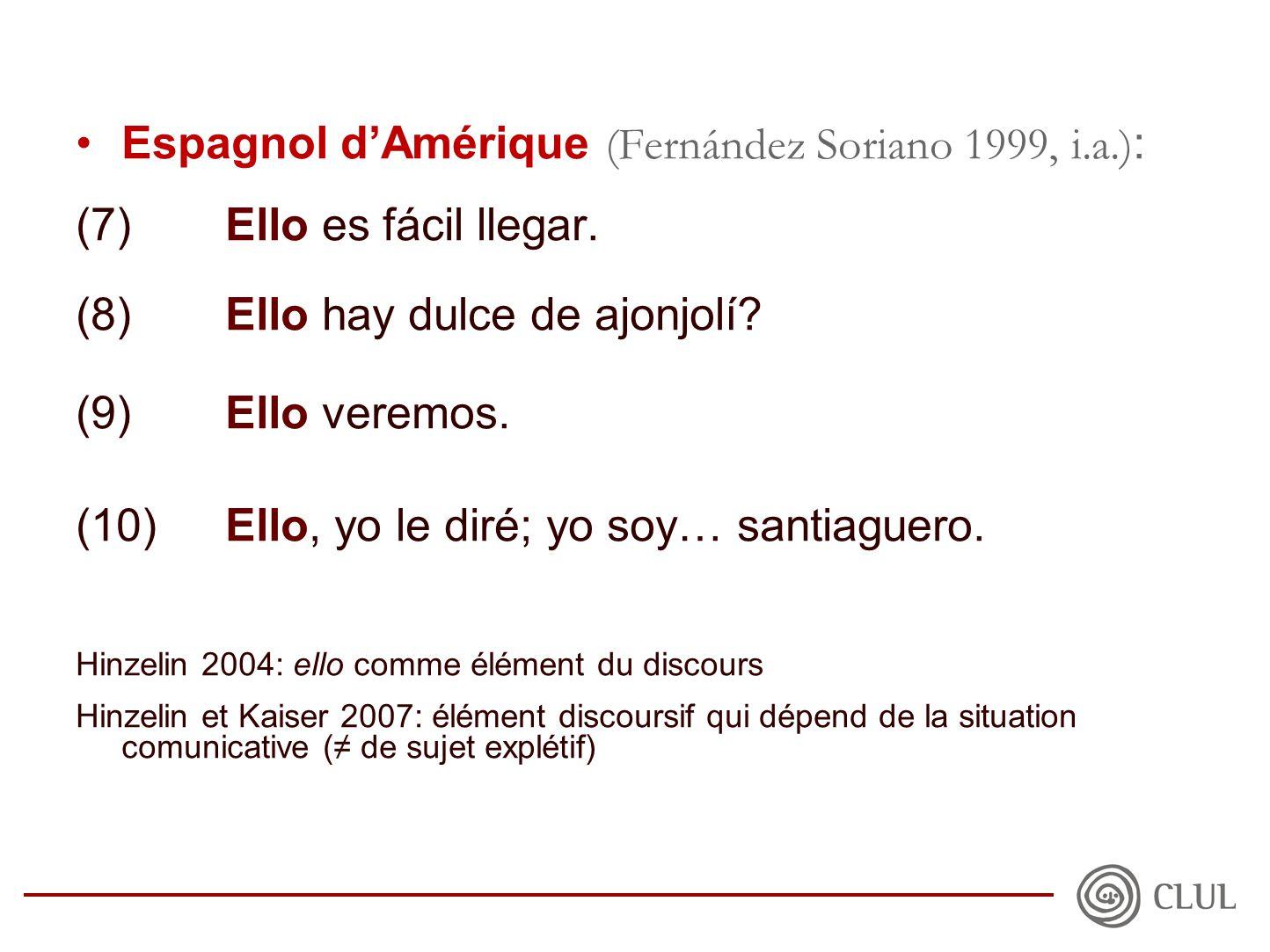 •Espagnol d'Amérique (Fernández Soriano 1999, i.a.) : (7)Ello es fácil llegar.