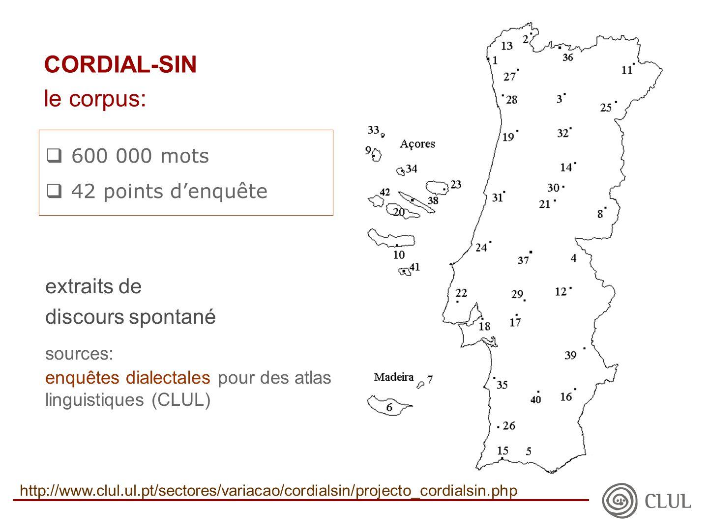  600 000 mots  42 points d'enquête extraits de discours spontané sources: enquêtes dialectales pour des atlas linguistiques (CLUL) CORDIAL-SIN le corpus: http://www.clul.ul.pt/sectores/variacao/cordialsin/projecto_cordialsin.php