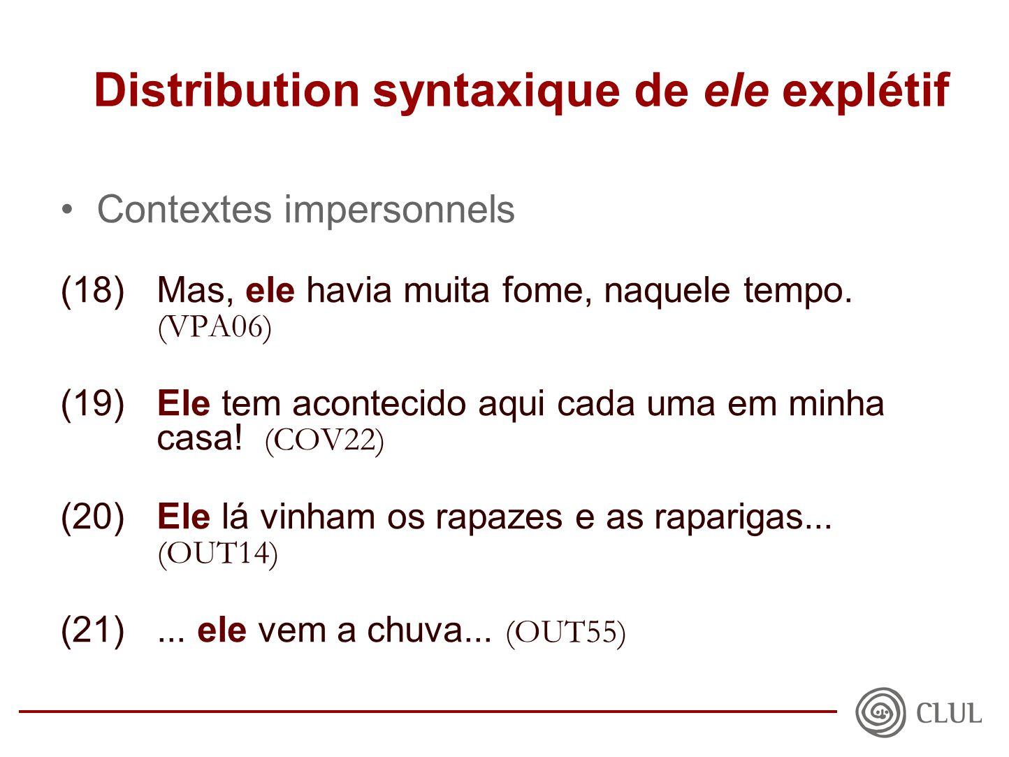 Distribution syntaxique de ele explétif •Contextes impersonnels (18)Mas, ele havia muita fome, naquele tempo.