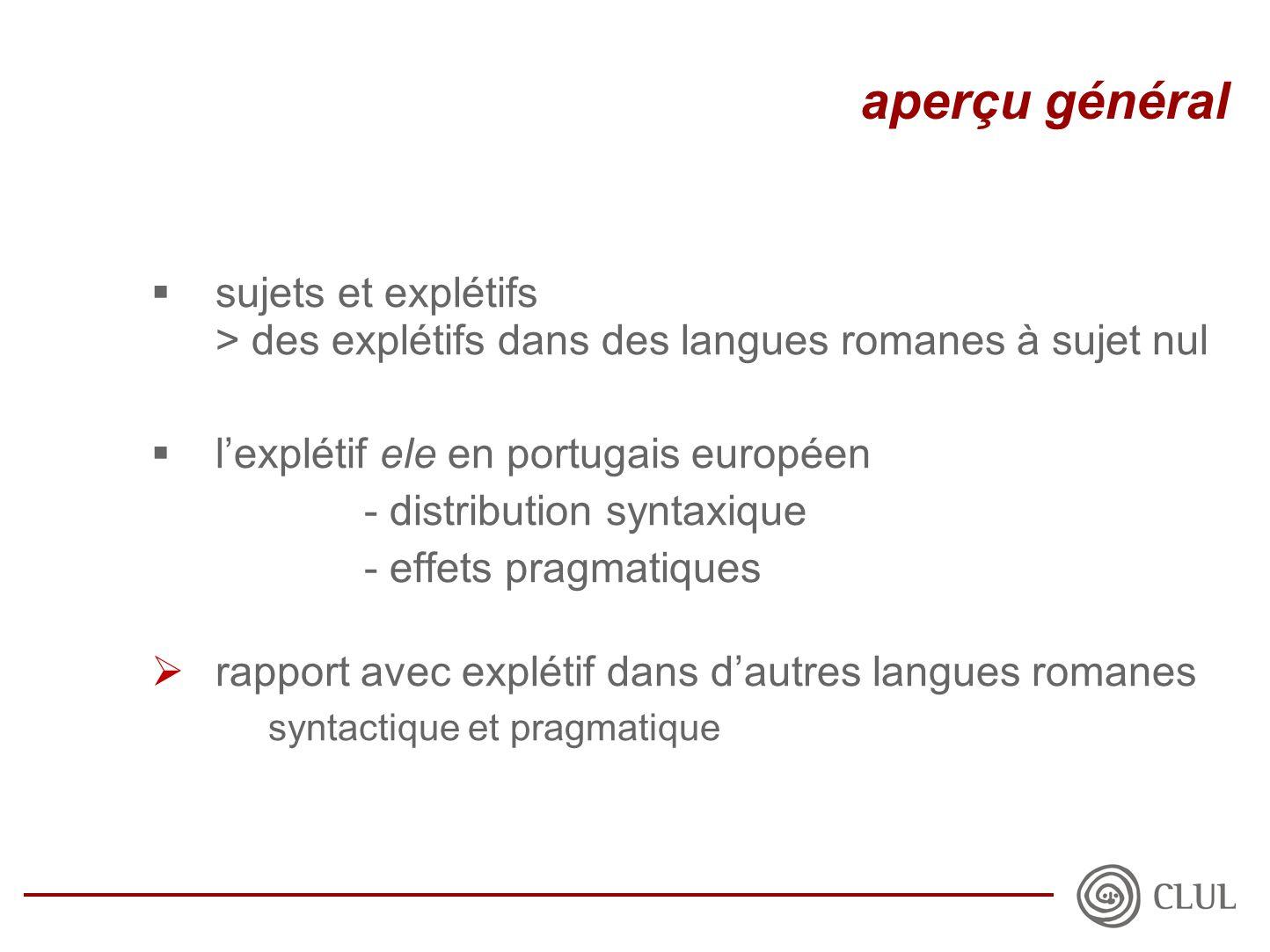  sujets et explétifs > des explétifs dans des langues romanes à sujet nul  l'explétif ele en portugais européen - distribution syntaxique - effets pragmatiques  rapport avec explétif dans d'autres langues romanes syntactique et pragmatique aperçu général