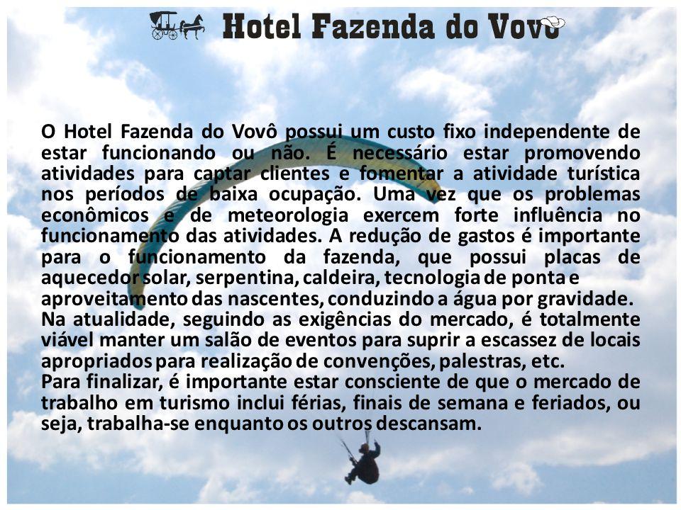 O Hotel Fazenda do Vovô possui um custo fixo independente de estar funcionando ou não. É necessário estar promovendo atividades para captar clientes e