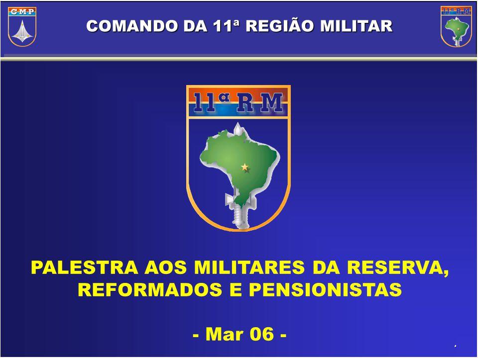 1/40 COMANDO DA 11ª REGIÃO MILITAR PALESTRA AOS MILITARES DA RESERVA, REFORMADOS E PENSIONISTAS - Mar 06 -