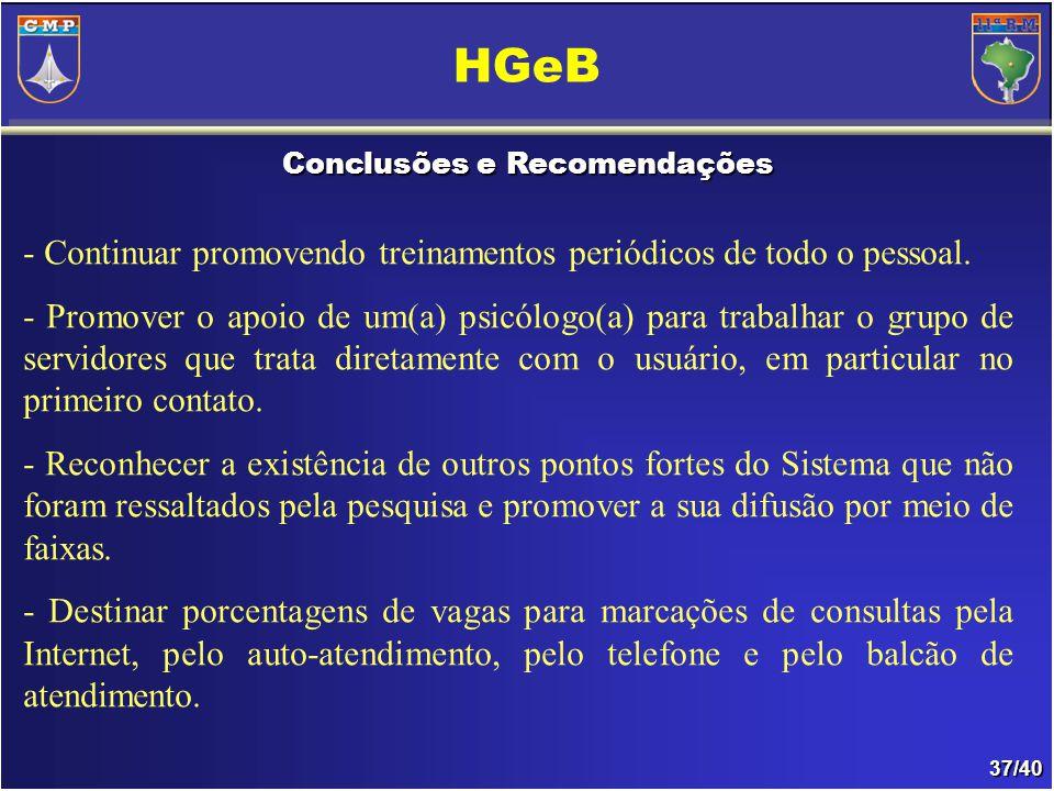37/40 Conclusões e Recomendações HGeB - Continuar promovendo treinamentos periódicos de todo o pessoal.