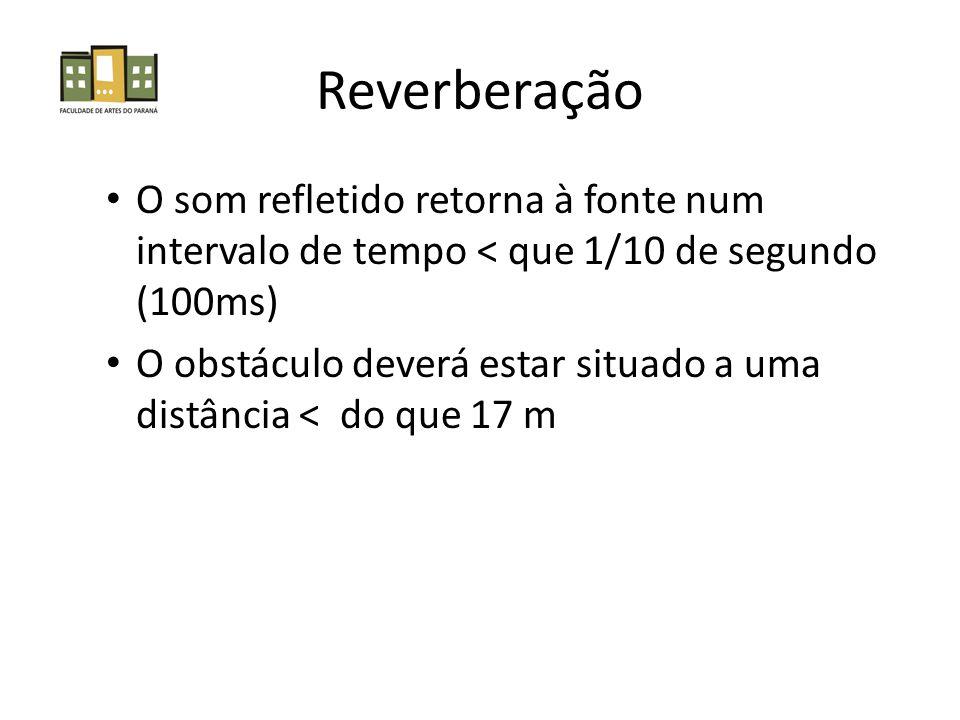 Reverberação • O som refletido retorna à fonte num intervalo de tempo < que 1/10 de segundo (100ms) • O obstáculo deverá estar situado a uma distância < do que 17 m