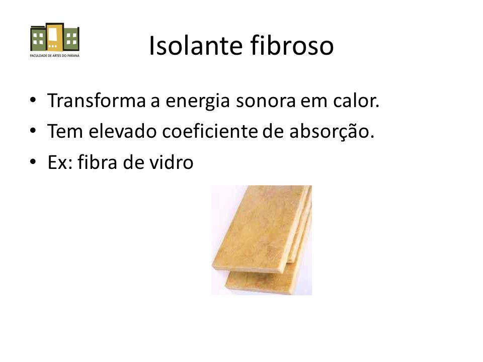 Isolante fibroso • Transforma a energia sonora em calor.