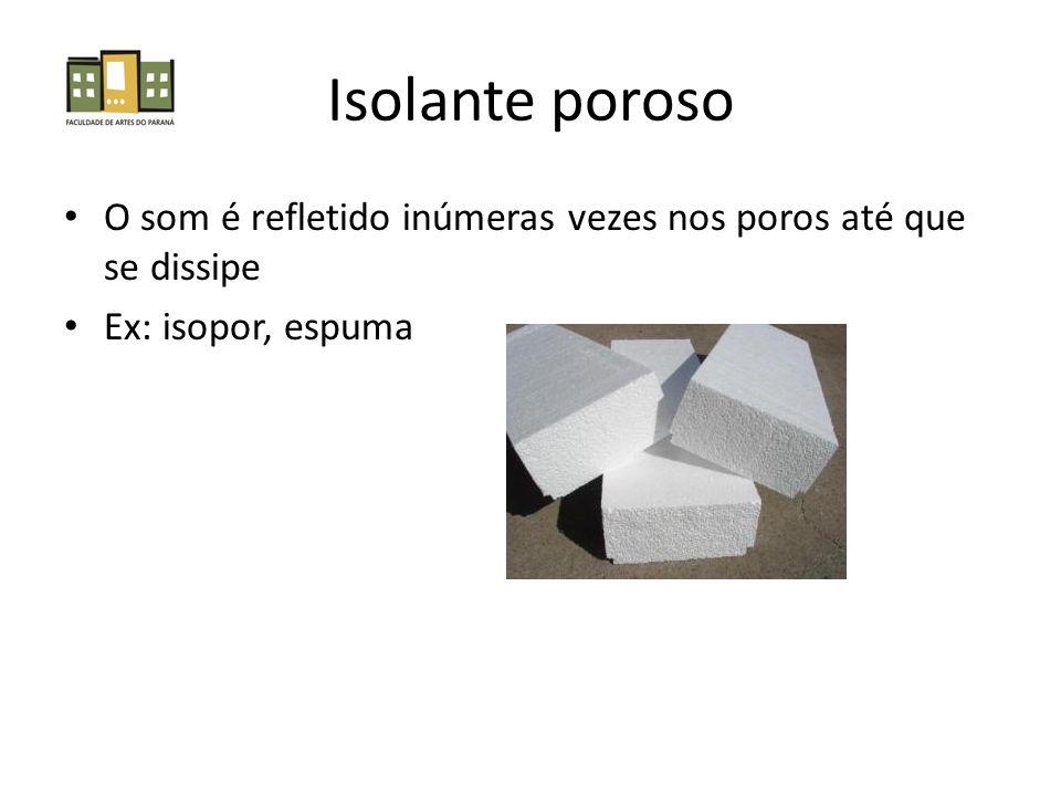 Isolante poroso • O som é refletido inúmeras vezes nos poros até que se dissipe • Ex: isopor, espuma