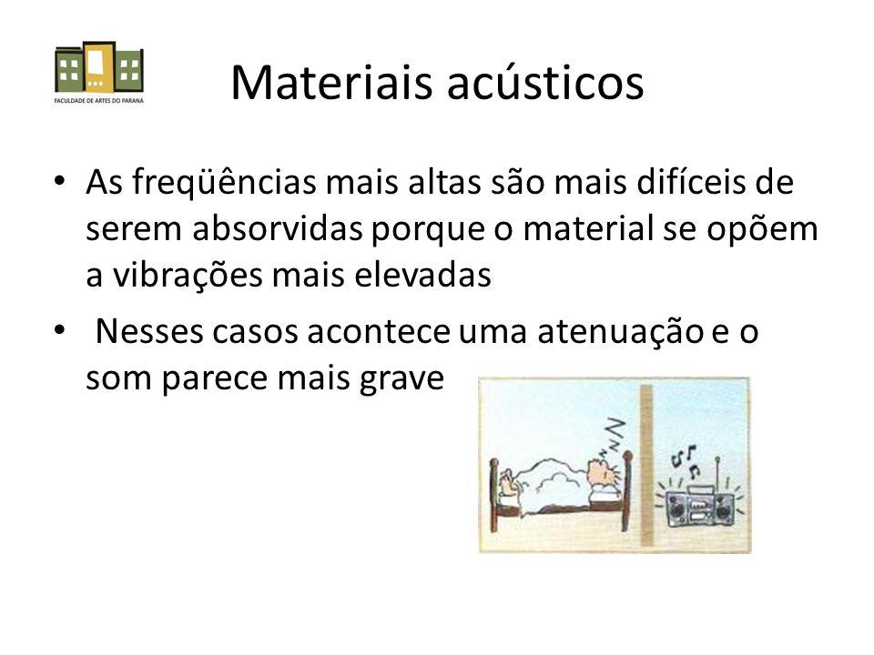 Materiais acústicos • As freqüências mais altas são mais difíceis de serem absorvidas porque o material se opõem a vibrações mais elevadas • Nesses casos acontece uma atenuação e o som parece mais grave