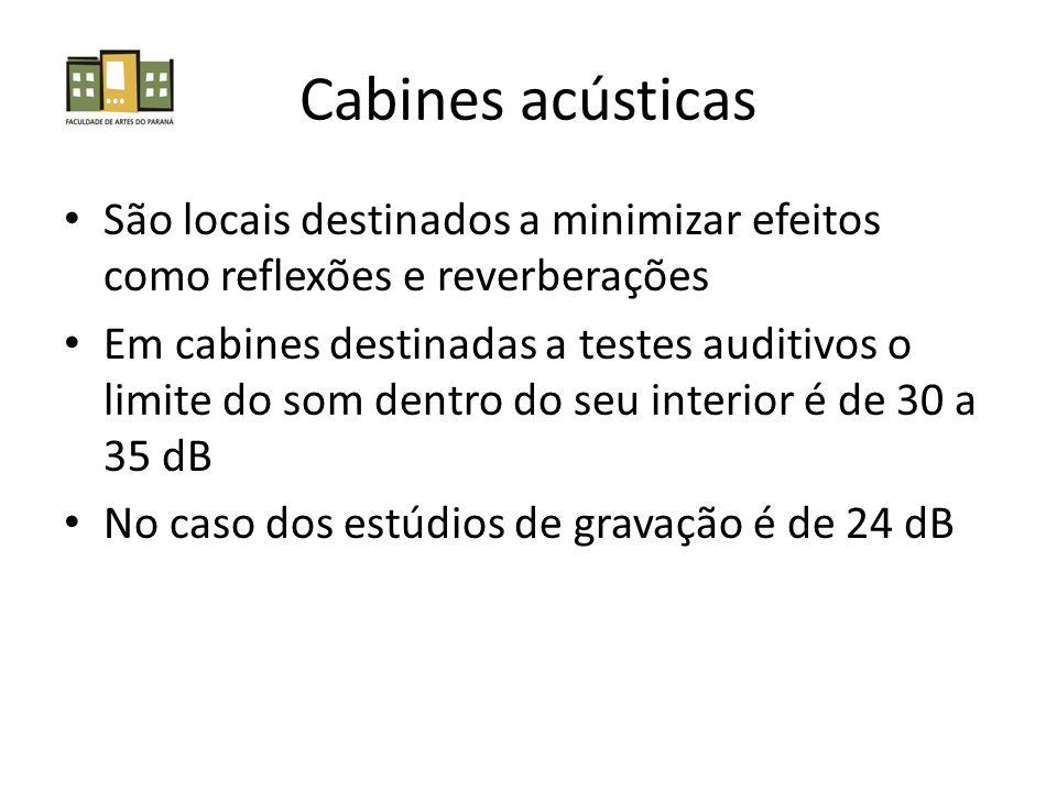Cabines acústicas • São locais destinados a minimizar efeitos como reflexões e reverberações • Em cabines destinadas a testes auditivos o limite do som dentro do seu interior é de 30 a 35 dB • No caso dos estúdios de gravação é de 24 dB