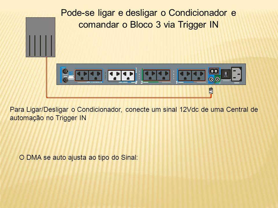 Para Ligar/Desligar o Condicionador, conecte um sinal 12Vdc de uma Central de automação no Trigger IN O DMA se auto ajusta ao tipo do Sinal: Pode-se ligar e desligar o Condicionador e comandar o Bloco 3 via Trigger IN