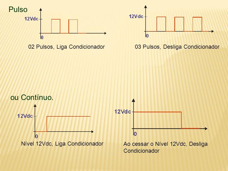 Pulso 02 Pulsos, Liga Condicionador03 Pulsos, Desliga Condicionador ou Contínuo.