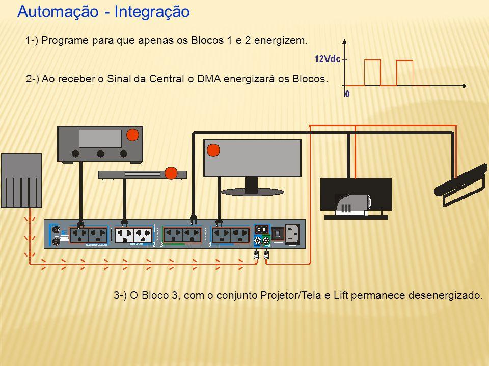 Automação - Integração 2-) Ao receber o Sinal da Central 1-) Programe para que apenas os Blocos 1 e 2 energizem.