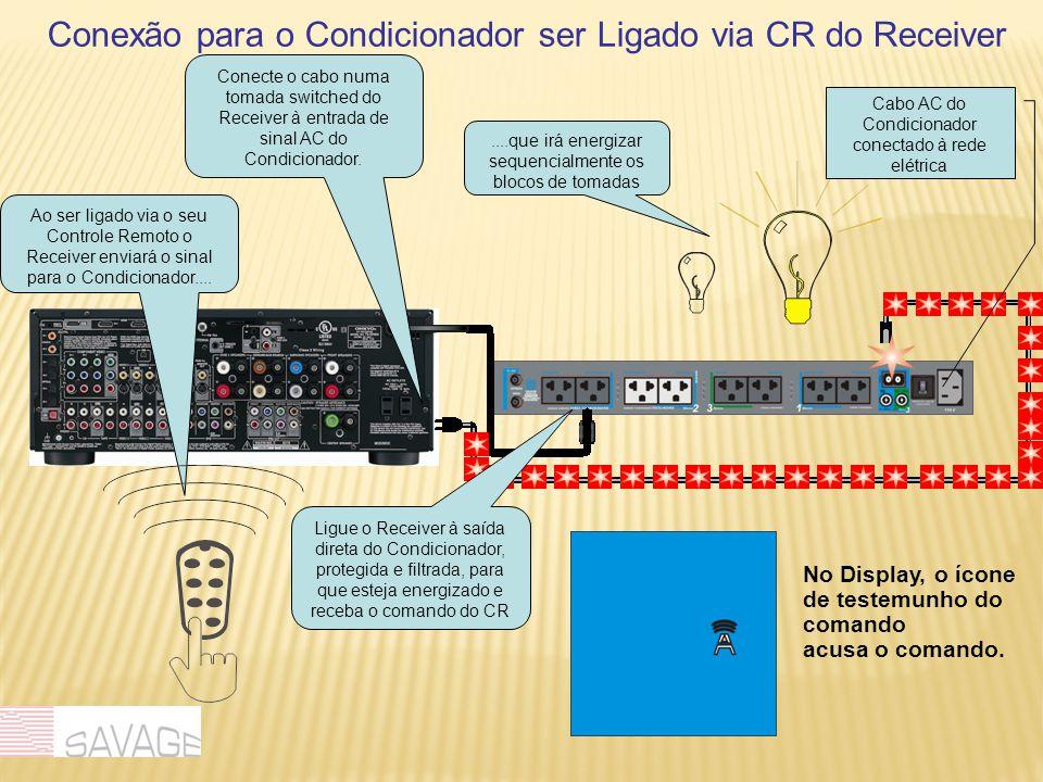 Conexão para o Condicionador ser Ligado via CR do Receiver Ao ser ligado via o seu Controle Remoto o Receiver enviará o sinal para o Condicionador........que irá energizar sequencialmente os blocos de tomadas Cabo AC do Condicionador conectado à rede elétrica Ligue o Receiver à saída direta do Condicionador, protegida e filtrada, para que esteja energizado e receba o comando do CR No Display, o ícone de testemunho do comando acusa o comando.