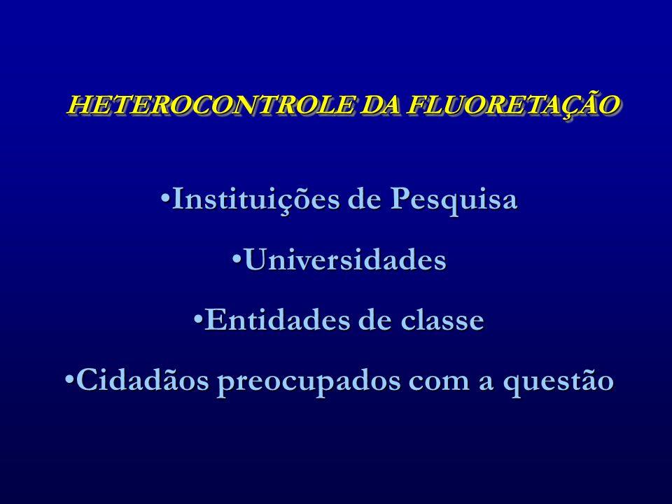 HETEROCONTROLE DA FLUORETAÇÃO •Instituições de Pesquisa •Universidades •Entidades de classe •Cidadãos preocupados com a questão