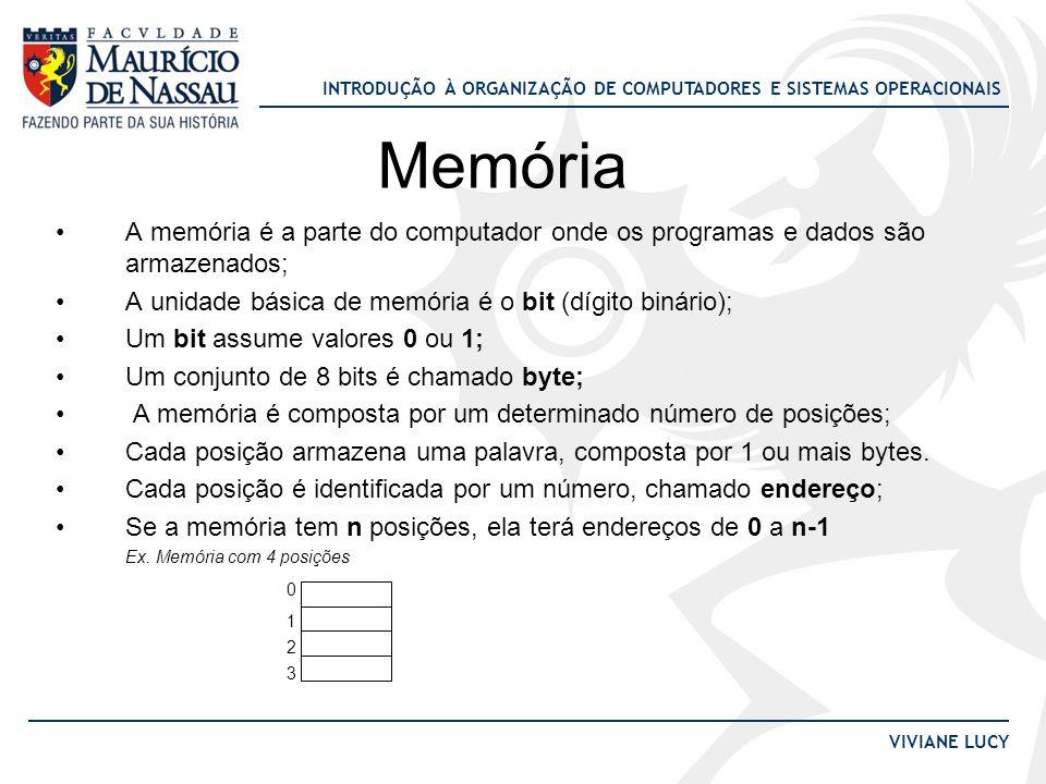 INTRODUÇÃO À ORGANIZAÇÃO DE COMPUTADORES E SISTEMAS OPERACIONAIS VIVIANE LUCY Memória •A memória é a parte do computador onde os programas e dados são
