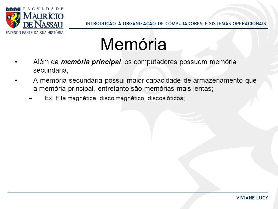 INTRODUÇÃO À ORGANIZAÇÃO DE COMPUTADORES E SISTEMAS OPERACIONAIS VIVIANE LUCY Memória •Além da memória principal, os computadores possuem memória secu