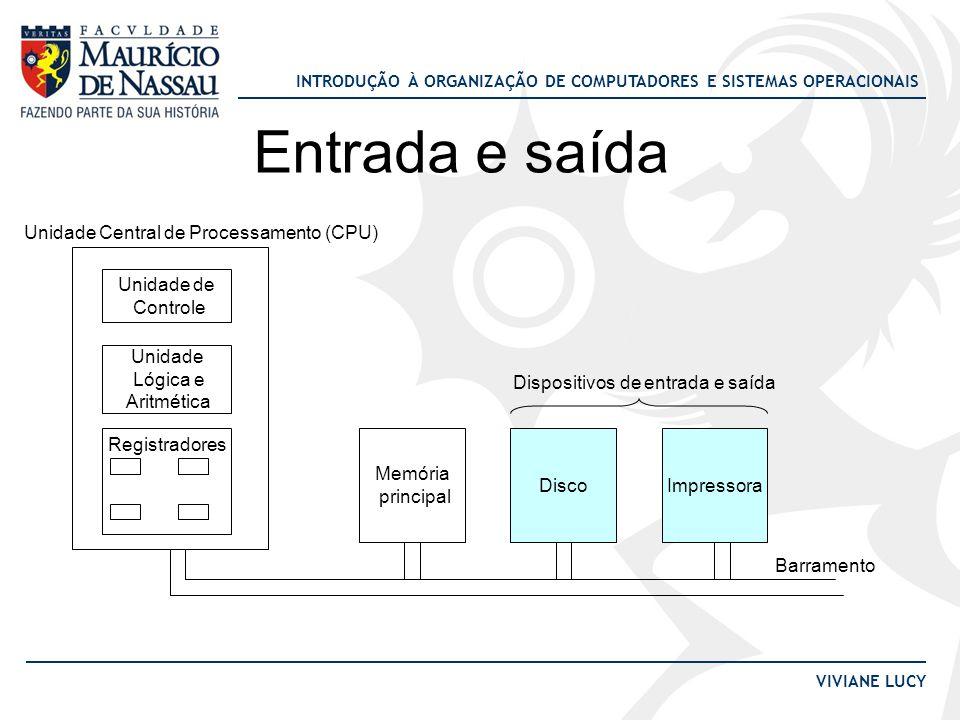 INTRODUÇÃO À ORGANIZAÇÃO DE COMPUTADORES E SISTEMAS OPERACIONAIS VIVIANE LUCY Entrada e saída Unidade de Controle Unidade Lógica e Aritmética Registra