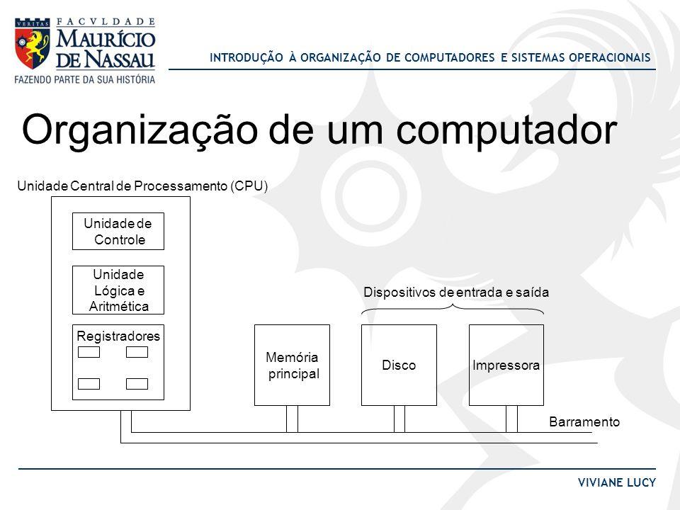 INTRODUÇÃO À ORGANIZAÇÃO DE COMPUTADORES E SISTEMAS OPERACIONAIS VIVIANE LUCY Organização de um computador Unidade de Controle Unidade Lógica e Aritmé
