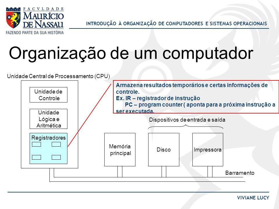 INTRODUÇÃO À ORGANIZAÇÃO DE COMPUTADORES E SISTEMAS OPERACIONAIS VIVIANE LUCY Execução de uma instrução •A CPU executa instruções em uma série de pequenos passos: 1.Busca a próxima instrução da memória para o registrador de instrução (IR); 2.Atualiza o contador de programa (PC) para que ele aponte para a instrução seguinte; 3.Determina o tipo da instrução; 4.Se a instrução busca dados da memória, determina onde eles estão; 5.Busca os dados para os registradores internos da CPU; 6.Executa a instrução; 7.Armazena os resultados; 8.Volta ao passo 1;