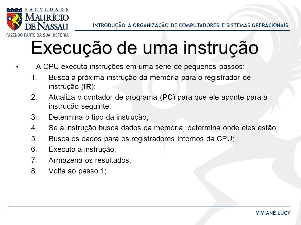 INTRODUÇÃO À ORGANIZAÇÃO DE COMPUTADORES E SISTEMAS OPERACIONAIS VIVIANE LUCY Execução de uma instrução •A CPU executa instruções em uma série de pequ
