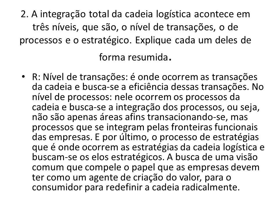 2. A integração total da cadeia logística acontece em três níveis, que são, o nível de transações, o de processos e o estratégico. Explique cada um de