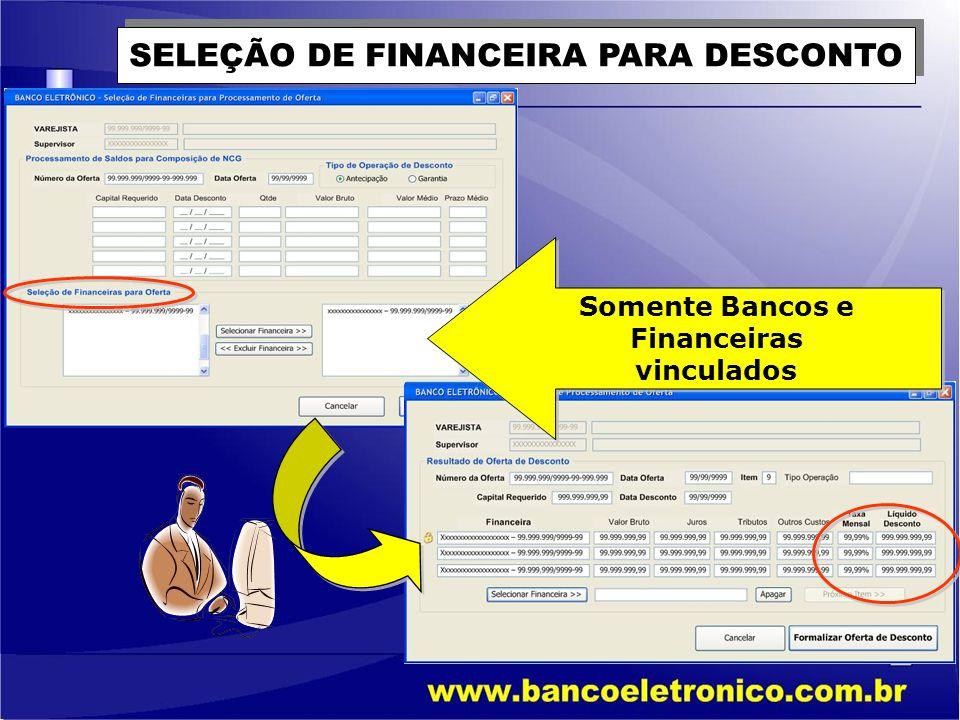 SELEÇÃO DE FINANCEIRA PARA DESCONTO Somente Bancos e Financeiras vinculados Somente Bancos e Financeiras vinculados