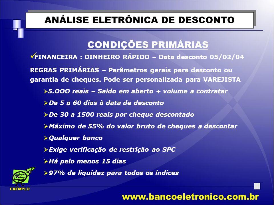 ANÁLISE ELETRÔNICA DE DESCONTO CONDIÇÕES PRIMÁRIAS  FINANCEIRA : DINHEIRO RÁPIDO – Data desconto 05/02/04 REGRAS PRIMÁRIAS – Parâmetros gerais para d