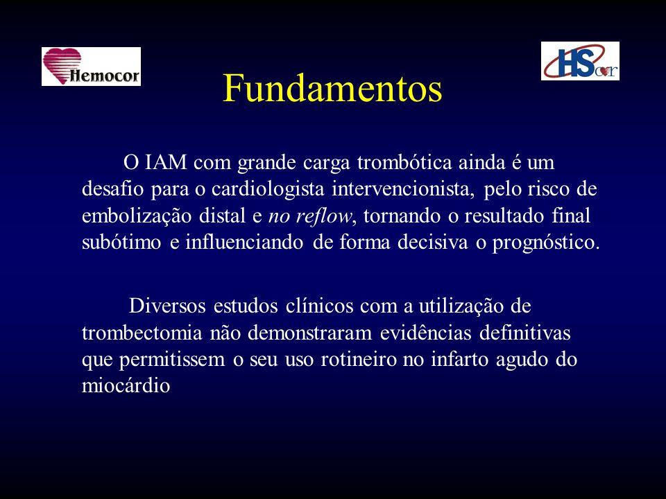 Fundamentos O IAM com grande carga trombótica ainda é um desafio para o cardiologista intervencionista, pelo risco de embolização distal e no reflow,