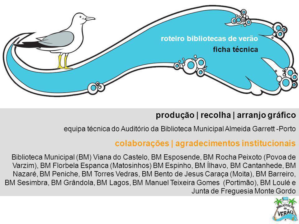 produção | recolha | arranjo gráfico equipa técnica do Auditório da Biblioteca Municipal Almeida Garrett -Porto colaborações | agradecimentos instituc