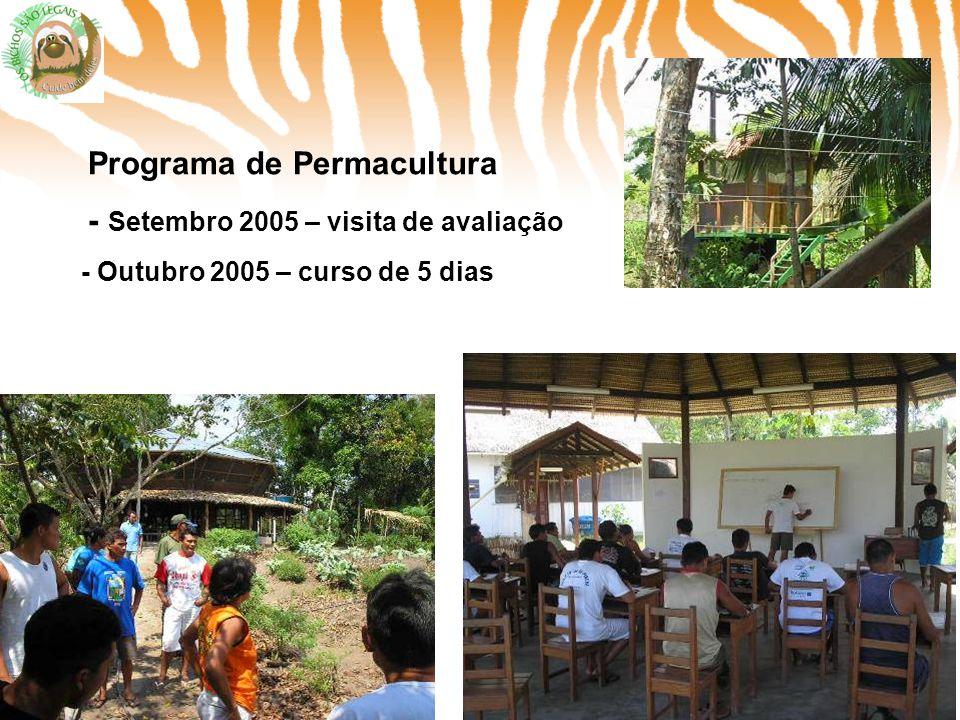 Programa de Permacultura - Setembro 2005 – visita de avaliação - Outubro 2005 – curso de 5 dias