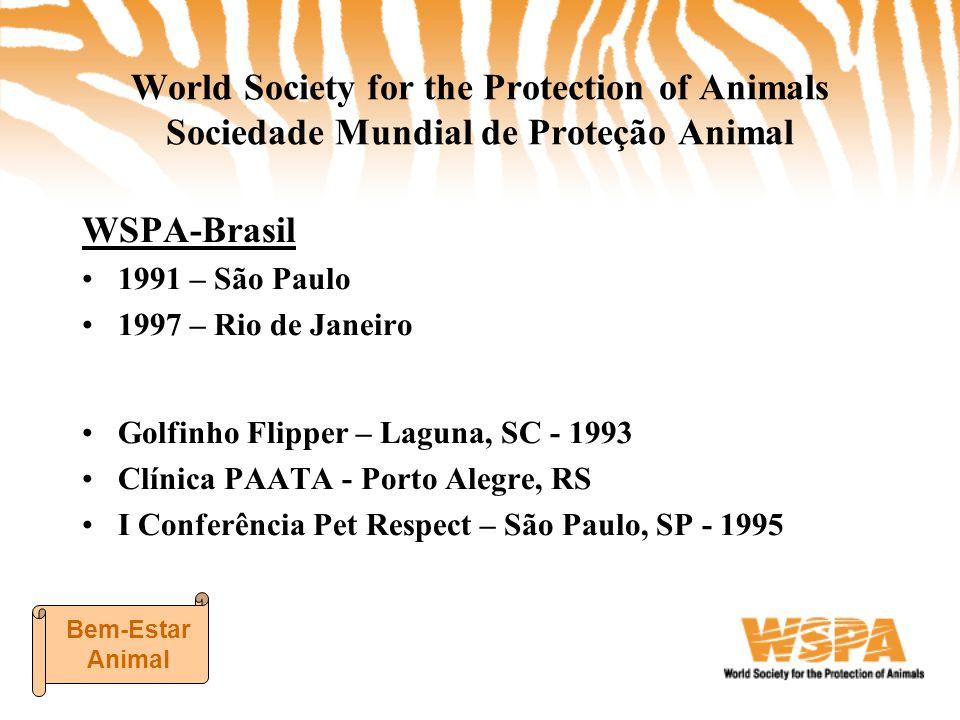 WSPA-BrasilPROJETOS • Arca Amazônica • Desenvolvimento de Afiliadas (57 afiliadas em 12 estados) • Controle de Populações • Conceitos em Bem-Estar Animal CAMPANHAS GLOBAIS •Alerta Produção Animal •Baleias na Mira Bem-Estar Animal