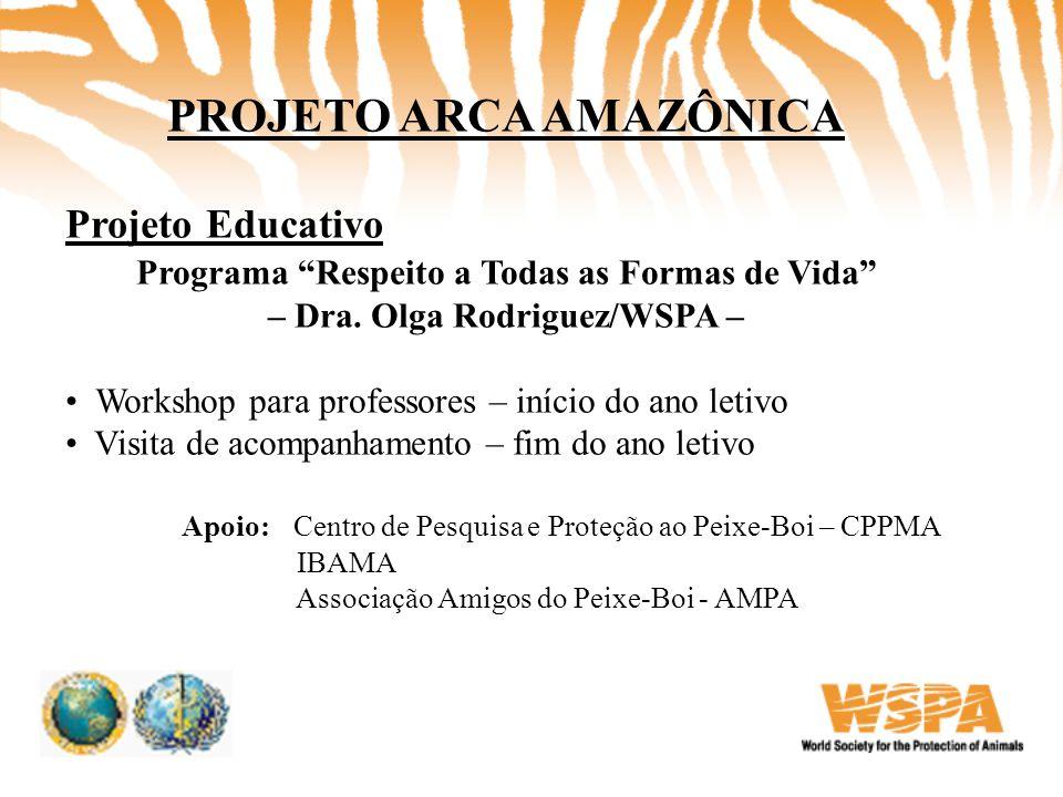 """PROJETO ARCA AMAZÔNICA Projeto Educativo Programa """"Respeito a Todas as Formas de Vida"""" – Dra. Olga Rodriguez/WSPA – • Workshop para professores – iníc"""
