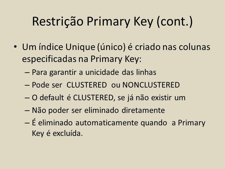 Restrição Primary Key (cont.) • Um índice Unique (único) é criado nas colunas especificadas na Primary Key: – Para garantir a unicidade das linhas – P