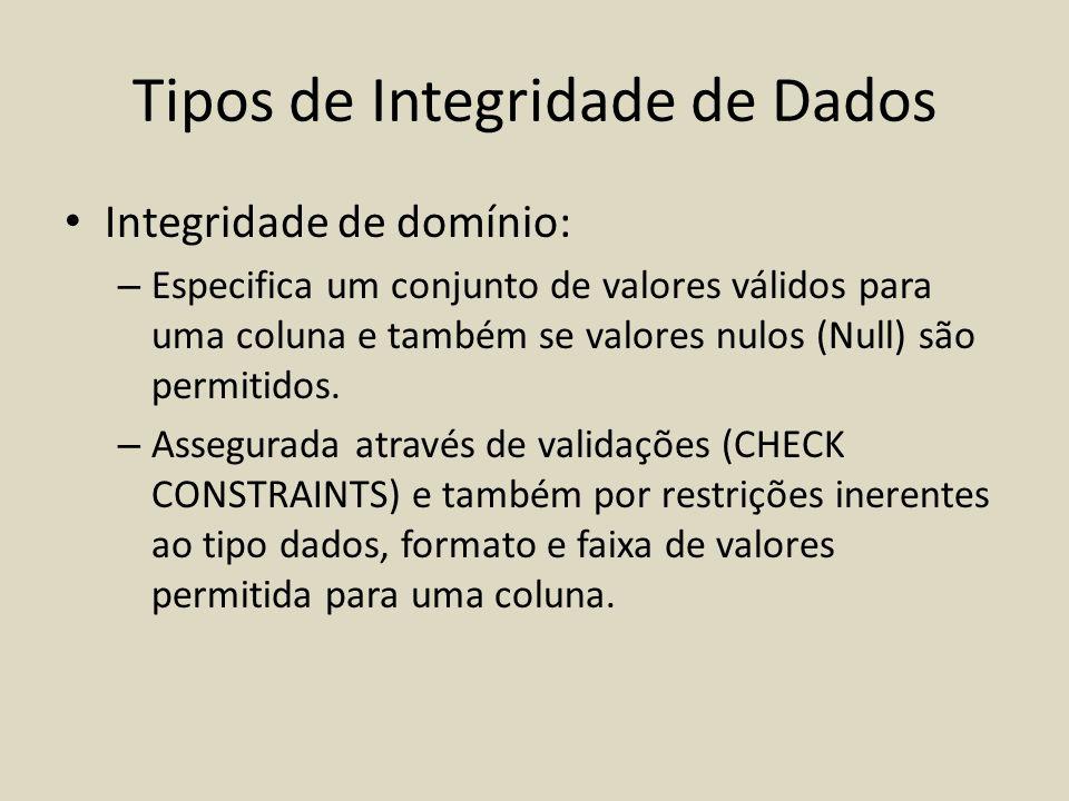 • Integridade de domínio: – Especifica um conjunto de valores válidos para uma coluna e também se valores nulos (Null) são permitidos. – Assegurada at