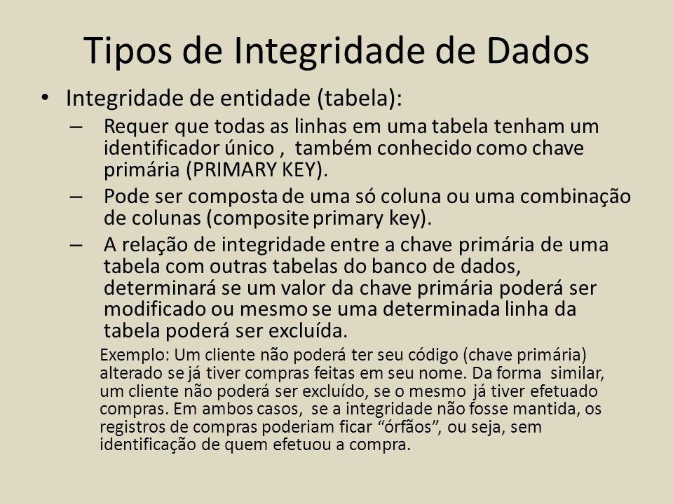 Tipos de Integridade de Dados • Integridade de entidade (tabela): – Requer que todas as linhas em uma tabela tenham um identificador único, também con