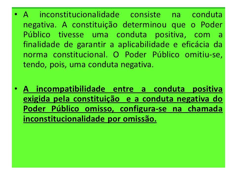 • A inconstitucionalidade consiste na conduta negativa. A constituição determinou que o Poder Público tivesse uma conduta positiva, com a finalidade d