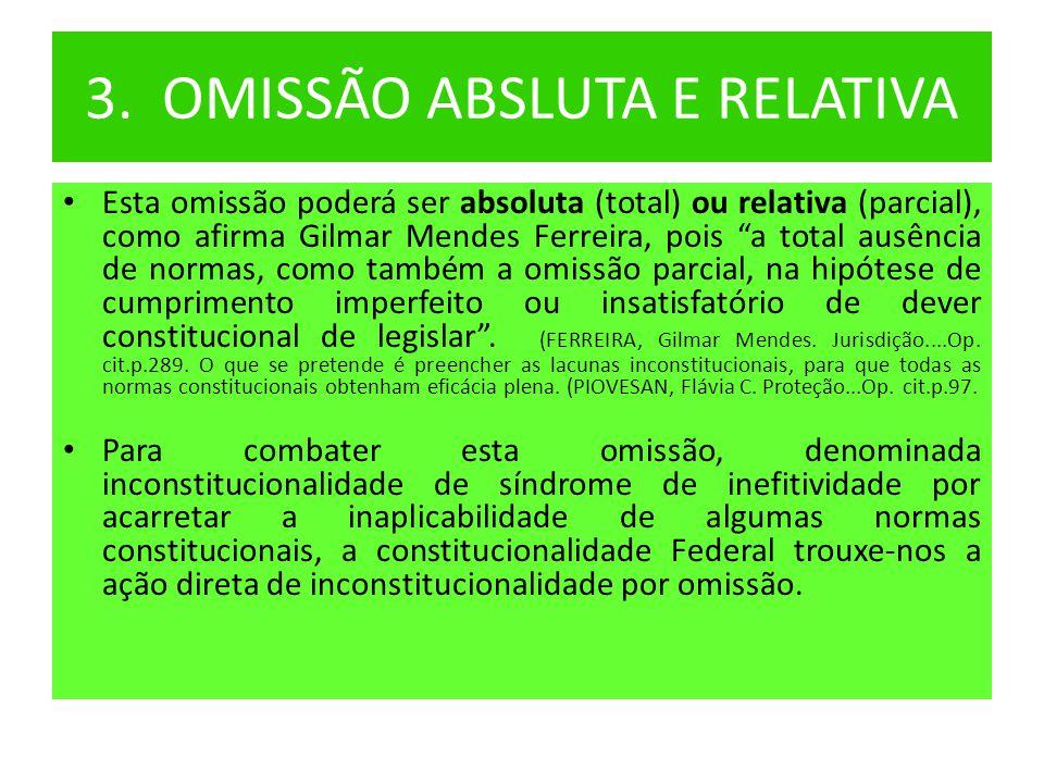 """3. OMISSÃO ABSLUTA E RELATIVA • Esta omissão poderá ser absoluta (total) ou relativa (parcial), como afirma Gilmar Mendes Ferreira, pois """"a total ausê"""