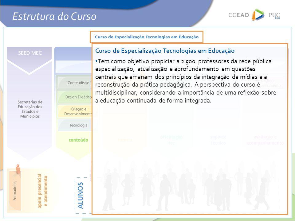 Curso de Especialização Tecnologias em Educação • Tem como objetivo propiciar a 2 500 professores da rede pública especialização, atualização e aprofu