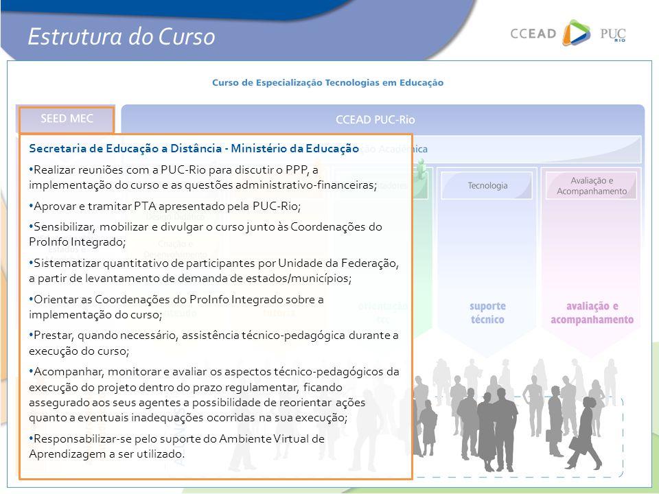 Secretaria de Educação a Distância - Ministério da Educação • Realizar reuniões com a PUC-Rio para discutir o PPP, a implementação do curso e as quest
