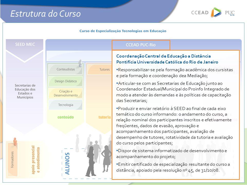 Coordenação Central de Educação a Distância Pontifícia Universidade Católica do Rio de Janeiro • Responsabilizar-se pela formação acadêmica dos cursis