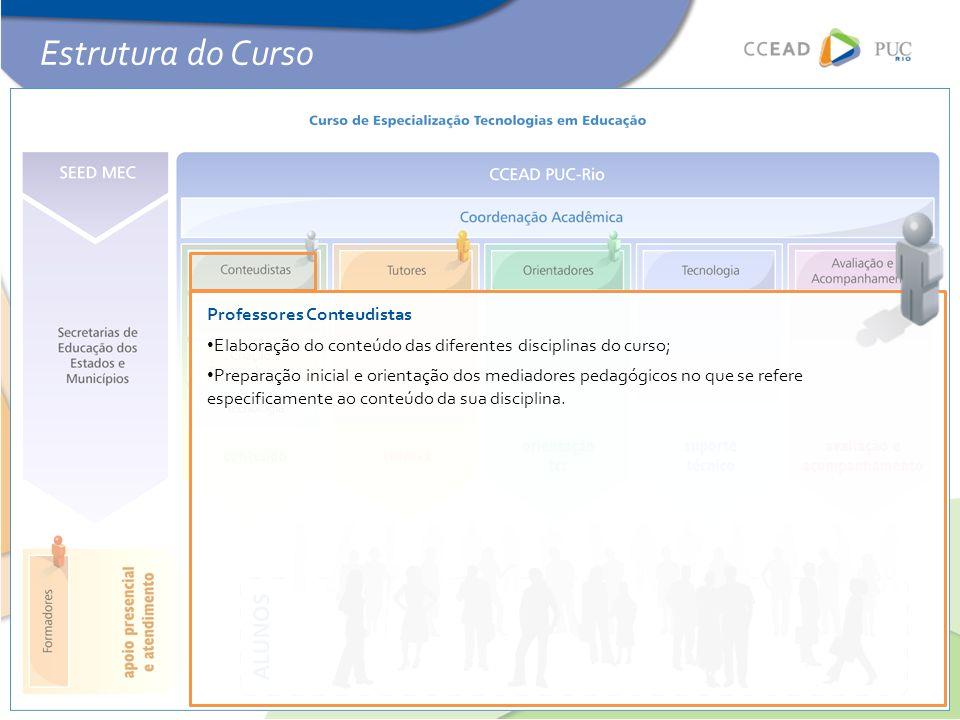 Professores Conteudistas • Elaboração do conteúdo das diferentes disciplinas do curso; • Preparação inicial e orientação dos mediadores pedagógicos no