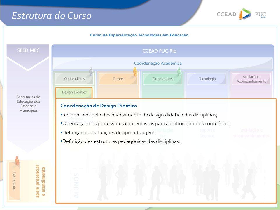 Coordenação de Design Didático • Responsável pelo desenvolvimento do design didático das disciplinas; • Orientação dos professores conteudistas para a elaboração dos conteúdos; • Definição das situações de aprendizagem; • Definição das estruturas pedagógicas das disciplinas.