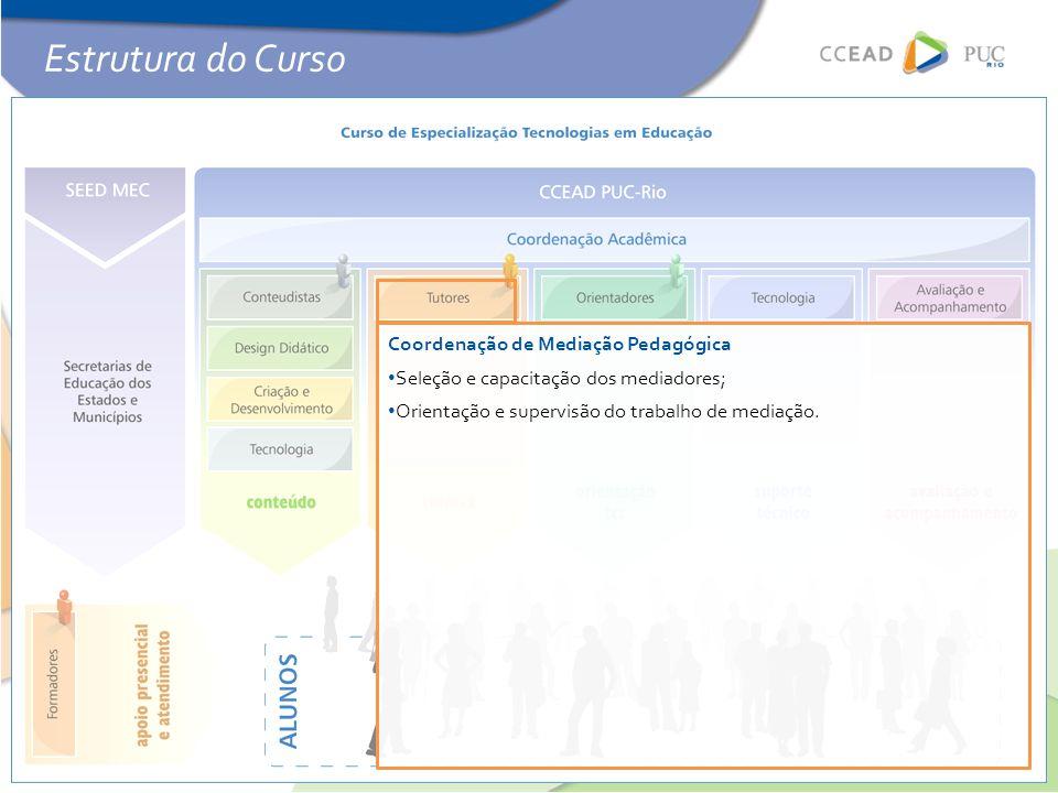 Coordenação de Mediação Pedagógica • Seleção e capacitação dos mediadores; • Orientação e supervisão do trabalho de mediação. Estrutura do Curso