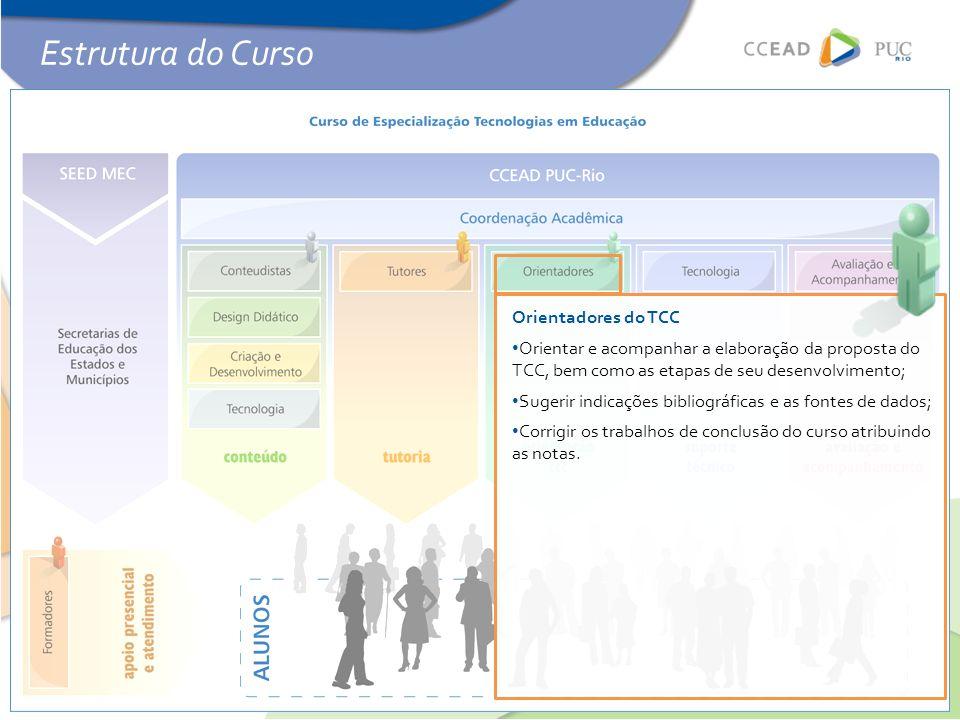 Orientadores do TCC • Orientar e acompanhar a elaboração da proposta do TCC, bem como as etapas de seu desenvolvimento; • Sugerir indicações bibliográficas e as fontes de dados; • Corrigir os trabalhos de conclusão do curso atribuindo as notas.