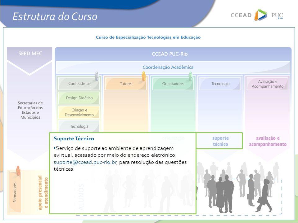 Suporte Técnico • Serviço de suporte ao ambiente de aprendizagem evirtual, acessado por meio do endereço eletrônico suporte@ccead.puc-rio.br, para resolução das questões técnicas.