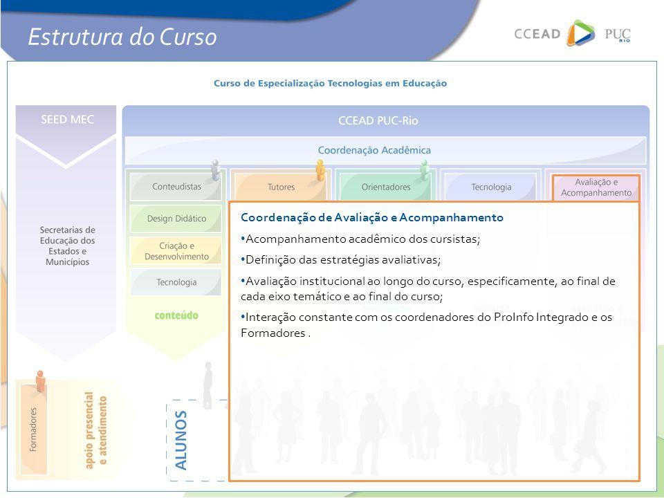 Coordenação de Avaliação e Acompanhamento • Acompanhamento acadêmico dos cursistas; • Definição das estratégias avaliativas; • Avaliação institucional