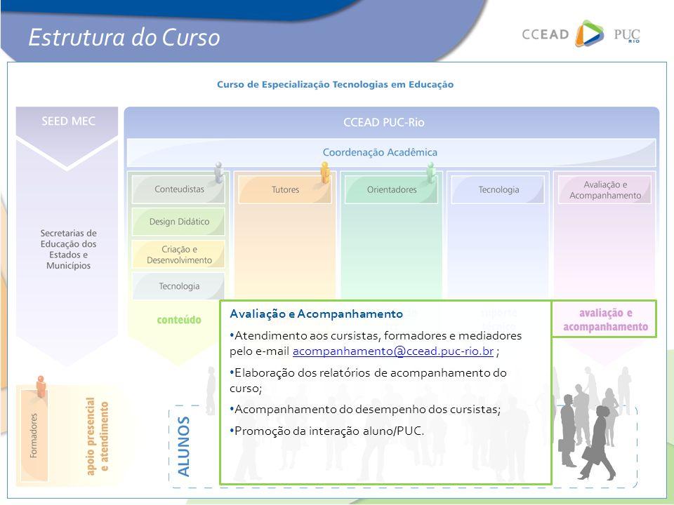 Avaliação e Acompanhamento • Atendimento aos cursistas, formadores e mediadores pelo e-mail acompanhamento@ccead.puc-rio.br ;acompanhamento@ccead.puc-